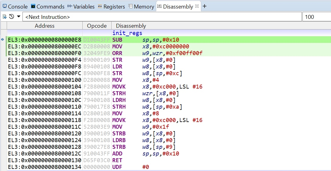 Code in Disassembly view