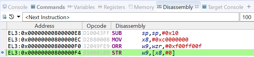 STR instruction in Disassembly view
