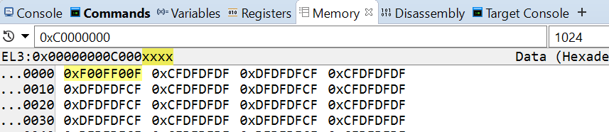 Memory view after 32-bit write
