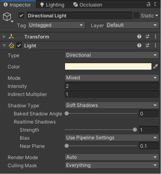 Light settings with Mixed Mode