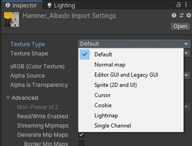 Texture Type in Import Settings
