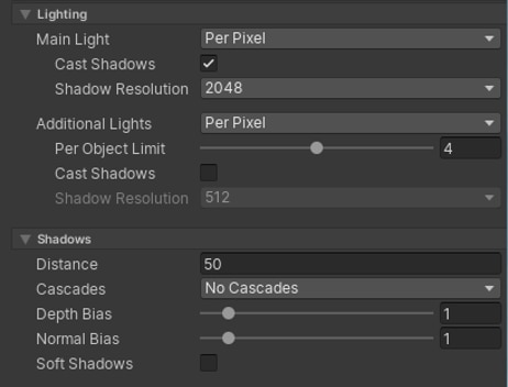URP shadow options