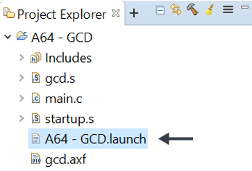 Pointing to A64-GCD.launch in Project Explorer