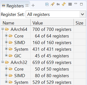 Screenshot from Arm Development Studio showing the architectural register set in Registers view.