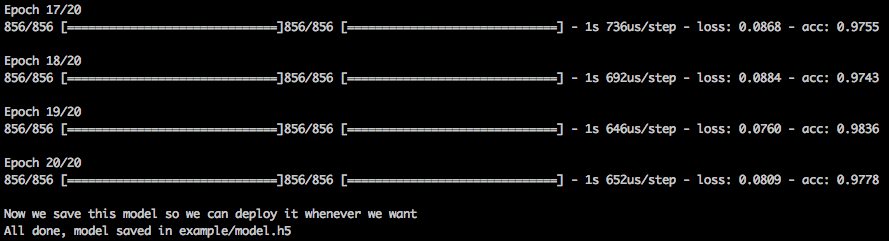 command line showing the results of the command train.py