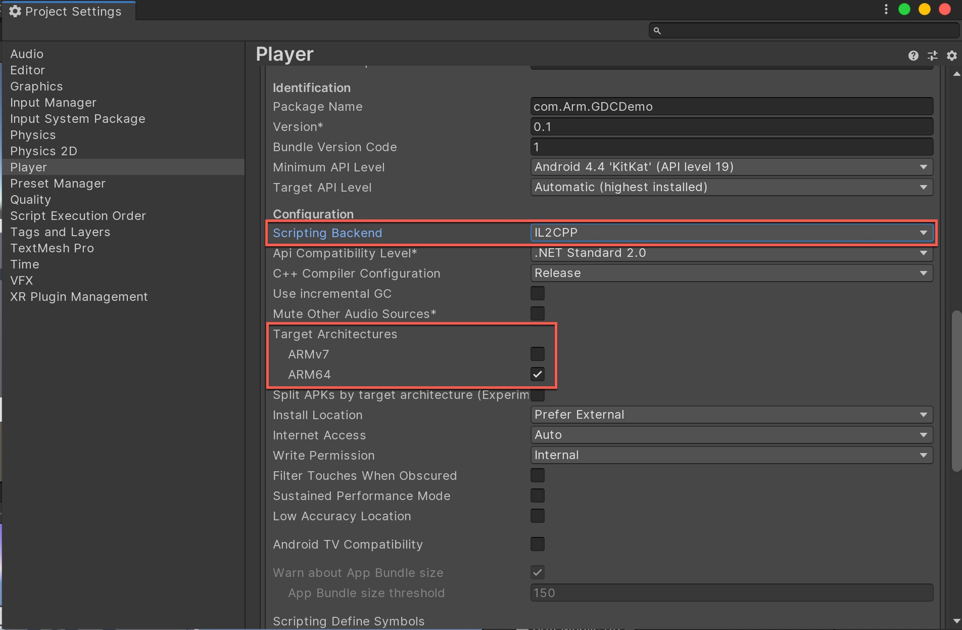 Unity Player Settings