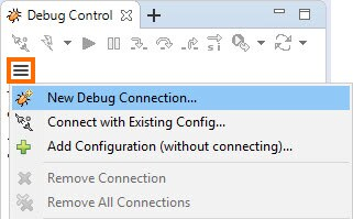New Debug Connection option in hamburger menu