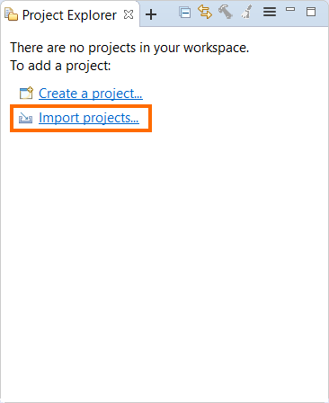 Import Projects button in Project Explorer view
