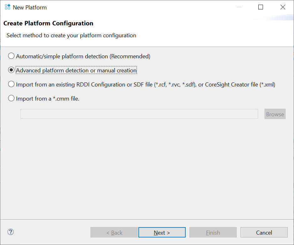 Create a platform configuration using manually configuration