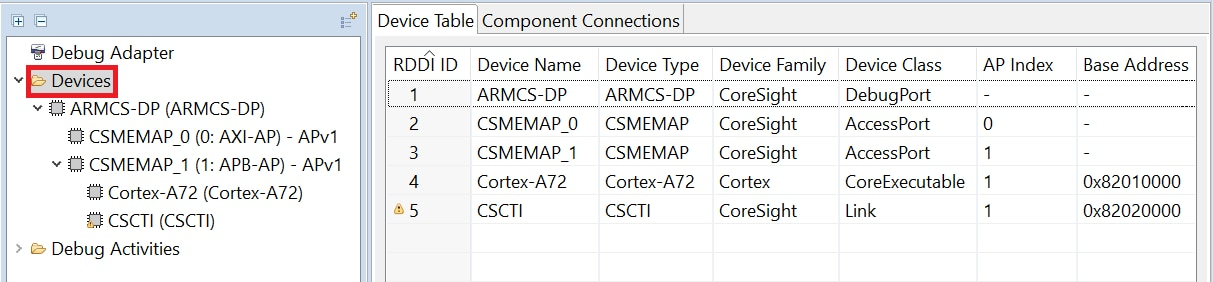 List of current devices in the Devices tab