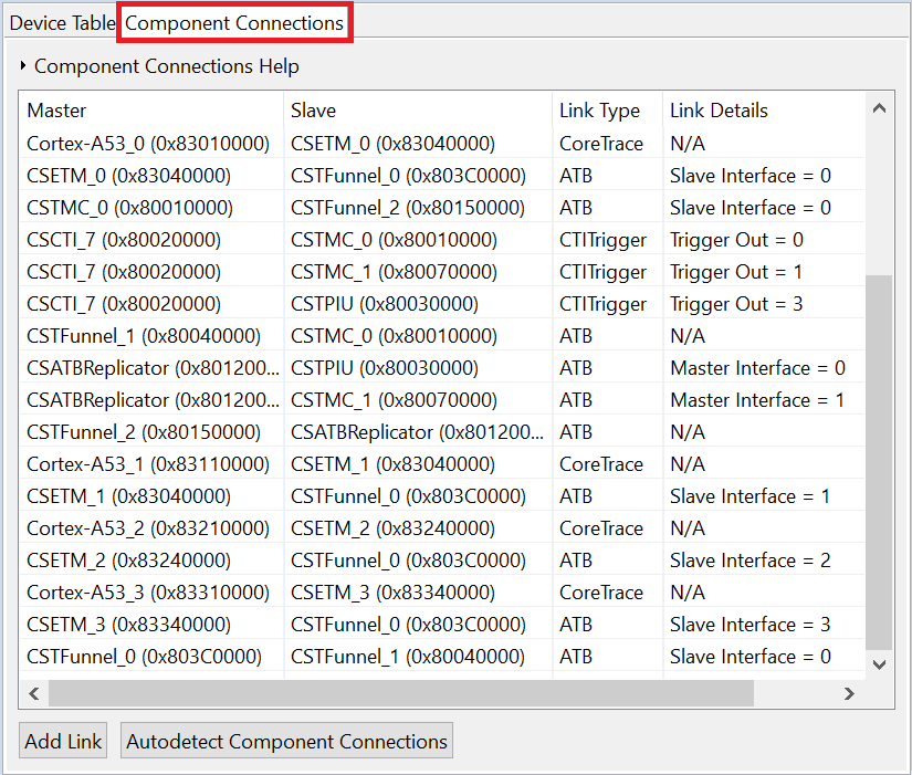 Complete trace Component Connections tab