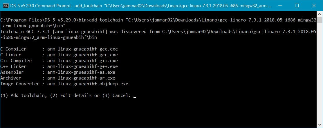 Add new toolchain from the command prompt