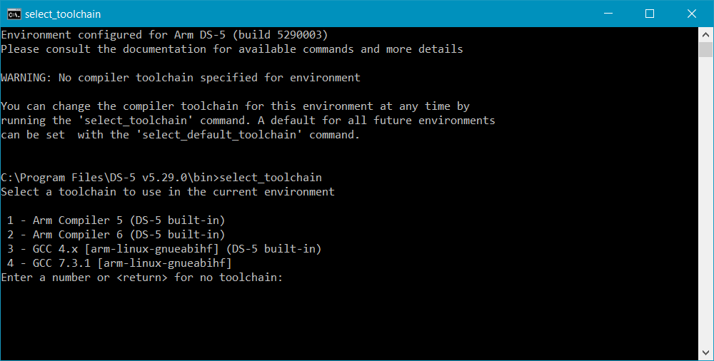 Select a new toolchain from the command prompt