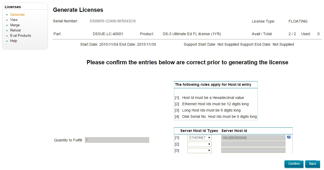 Generate Licenses - Confirm details and host ID
