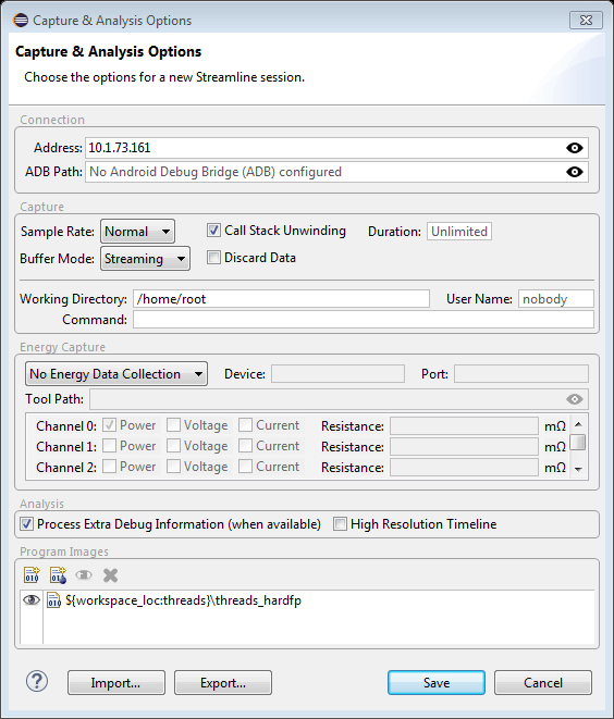 Capture and Analysis Options Dialog Box