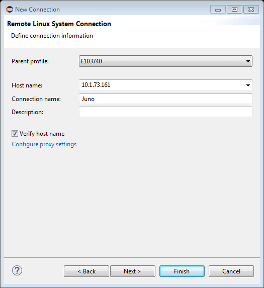 New Remote System Connection Name Dialog Box