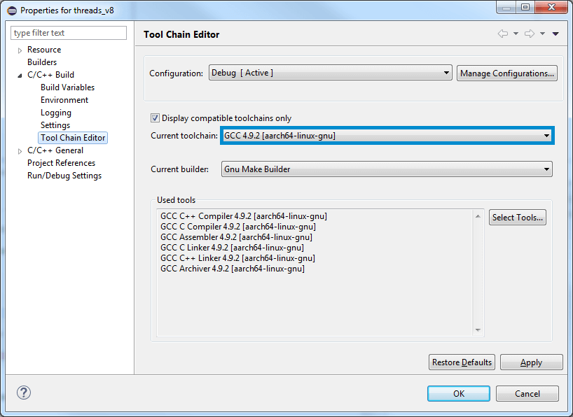 Project Properties Toolchain Dialog Box