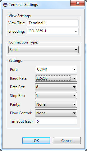 Connect Settings Dialog Box