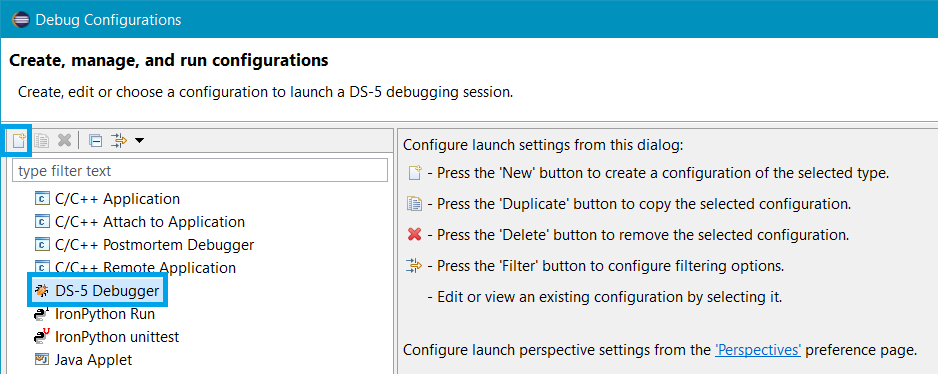 Debug configurations - New