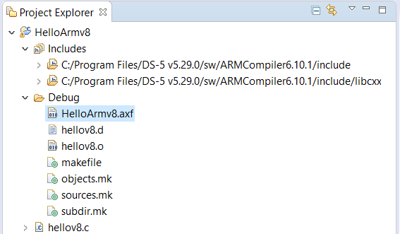 Compiled ARM Compiler 6 Hello World Project