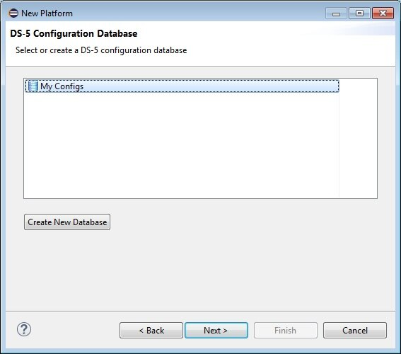 Selecting or configuring a new database in the PCE of DS-5