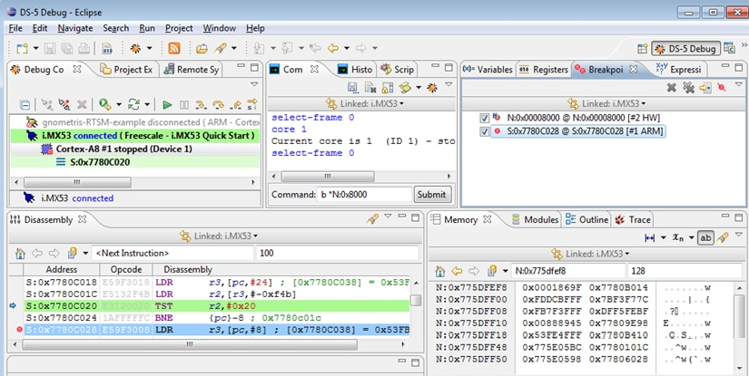 ARM DS-5 screenshot showing i.MX53 secure debug session