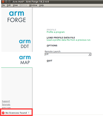 Arm Forge troubleshooting message - no licenses found
